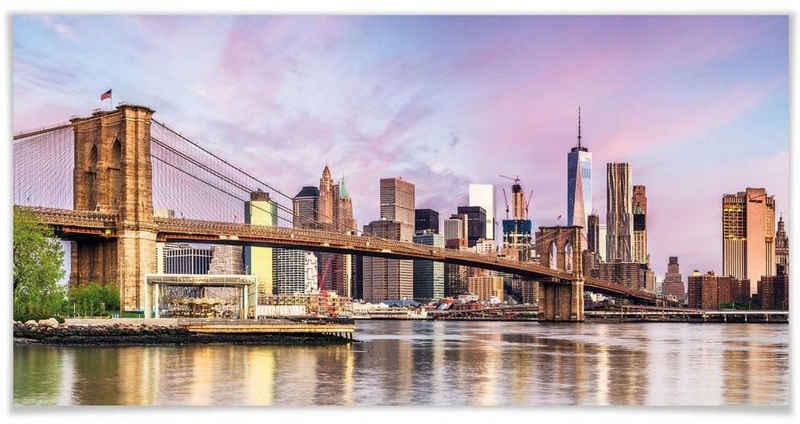 Wall-Art Poster »Manhattan Skyline Brooklyn Bridge«, New York (1 Stück), Poster, Wandbild, Bild, Wandposter