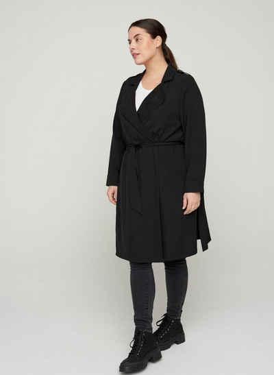 Zizzi Langjacke Große Größen Damen Einfarbige Jacke mit Taschen und Gürtel