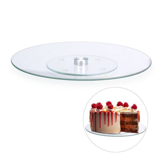 relaxdays Tortenplatte »Drehbare Tortenplatte Glas«, Glas