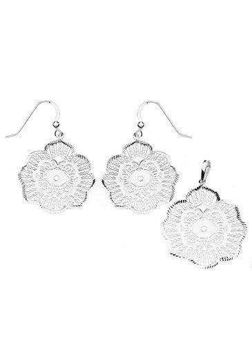 Firetti Schmuckset »Blume mit Ornament und geriffeltem Rand, Glanz, diamantiert« (Set, 3-tlg)