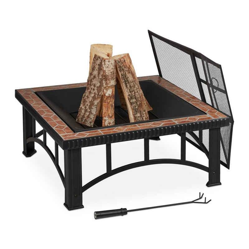 relaxdays Feuerschale »Feuerschale mit Steindekor«
