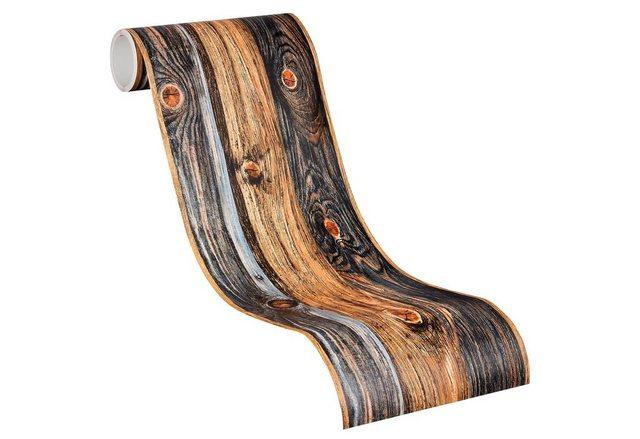 Livingwalls Selbstklebende Bordüre, Holz, bunt
