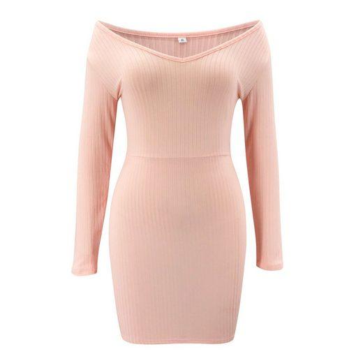 LAPA Off-Shoulder-Kleid »LAPA Kleid mit V-Ausschnitt, Schmales Kleid, Langarmkleid«