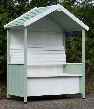 dynamic24 Gartenhaus, Garten Bank überdacht Sitzbank Auflagenbox Rosenbank Philosophenbank grün weiss