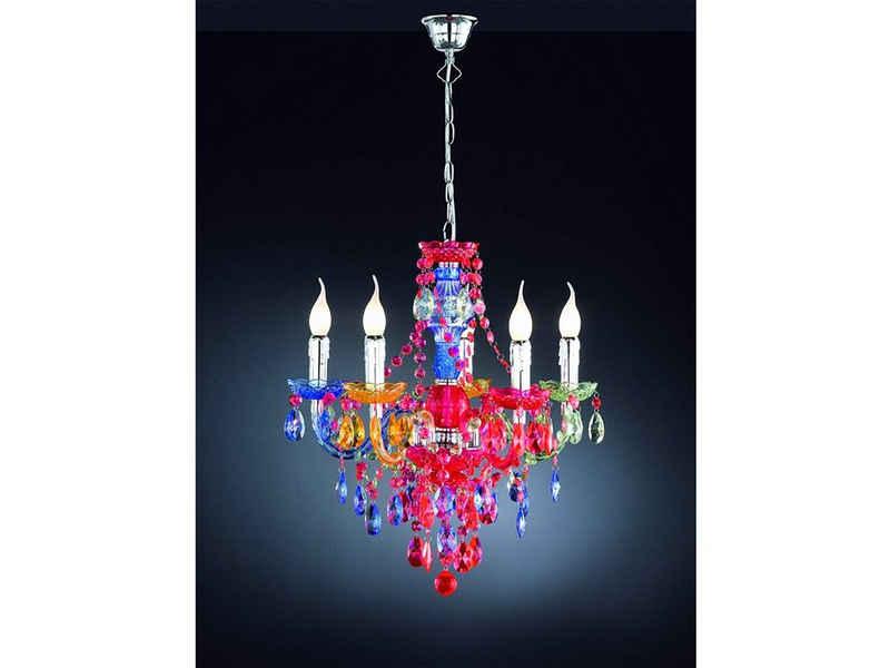 meineWunschleuchte LED Kronleuchter, antik im Barock-Stil, Bunt, 5 flammig, Nostalgischer Kristall-Lüster mit Behang aus Acryl, Windstoß-Kerzen, Switch Dimmer