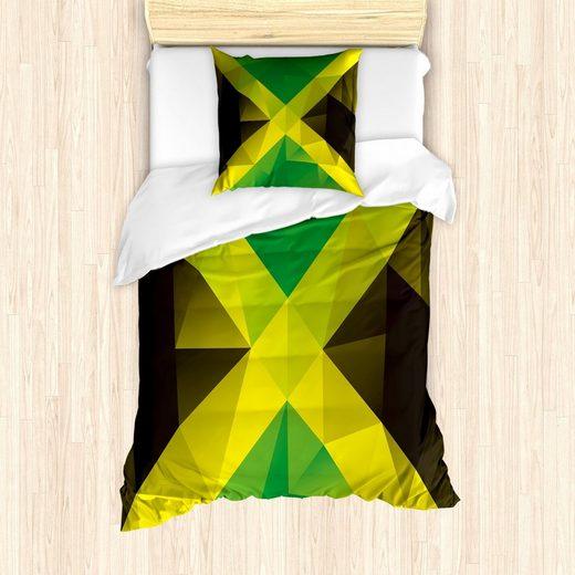 Bettwäsche »Milbensicher Allergiker geeignet mit Kissenbezug«, Abakuhaus, jamaikanisch Dreieck Polygon-Flagge