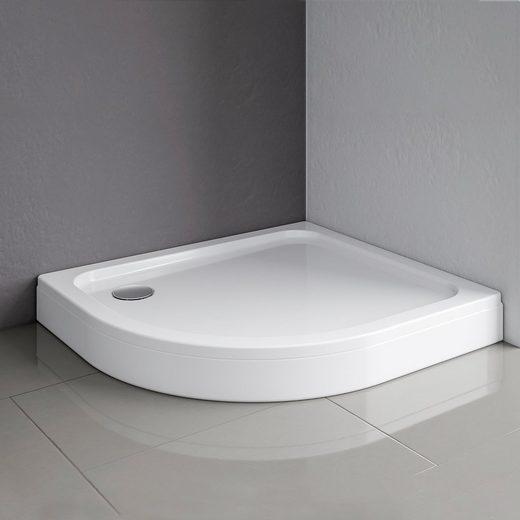 Schulte Duschwanne, rund, Sanitäracryl, flach, Version rechts, 90 x 80 cm