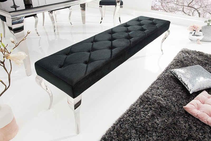 riess-ambiente Sitzbank »MODERN BAROCK 172cm schwarz / silber«, mit Samt-Bezug