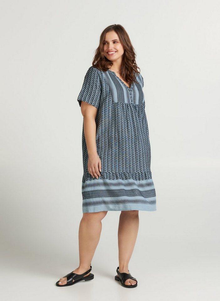 zizzi -  Sommerkleid Große Größen Damen Kurzarm Kleid mit V Ausschnitt und Print