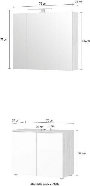 Badezimmer Sets - GERMANIA Badmöbel Set »Avino«, (2 St), Spiegelschrank inkl. LED Beleuchtung, Glasfronten, Soft Close Funktion  - Onlineshop OTTO