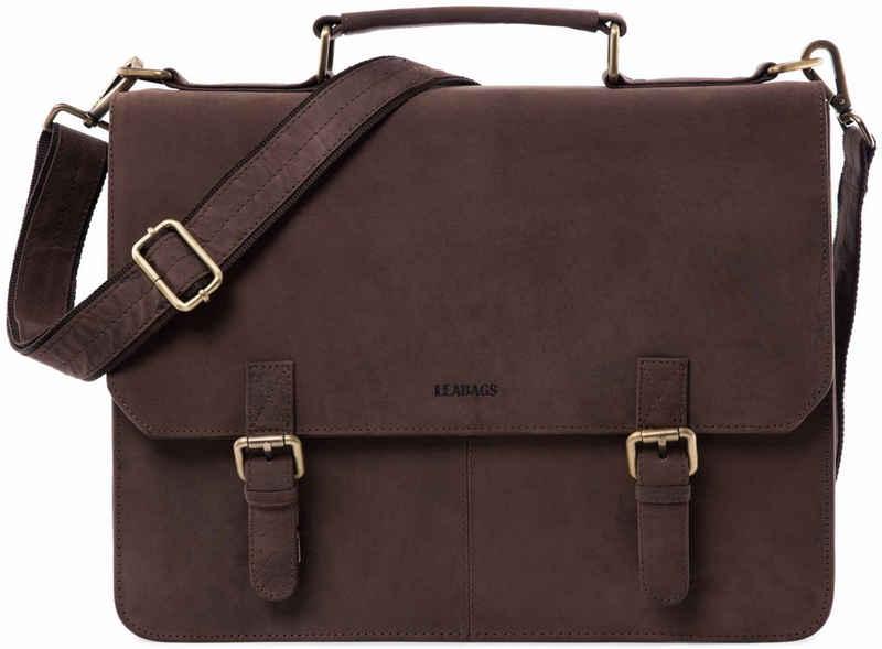LEABAGS Aktentasche »Gainsville«, Aktentasche Laptoptasche 15 Zoll Ledertasche im Vintage Look, (LxBxH): ca. 29 x 11 x 30 cm - Muskat