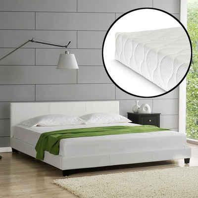 Corium Polsterbett, Kunstlederbett mit Kaltschaummatratze 180 x 200 cm Weiß