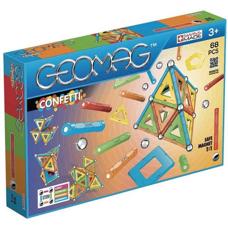 Geomag™ Magnetspielbausteine »Confetti 68 Teile Magnetbausteine«, magnetisches Konstruktionsspielzeug, 24 Magnetstäbe, 20 Metallkugeln, Magnetbauteile, magnetische Bauteile, Konstruktionsspiel