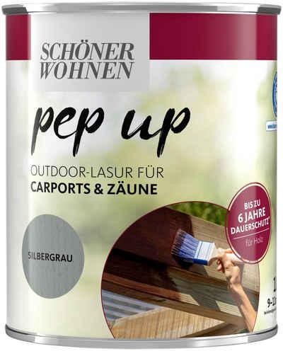 SCHÖNER WOHNEN-Kollektion Lasur »pep up Outdoor«, für Carports & Zäune, bis zu 6 Jahre Dauerschutz, silbergrau, seidenglänzend, 1 l