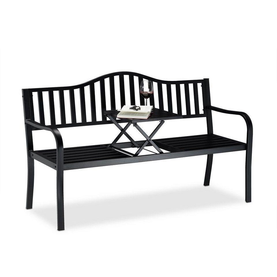 Relaxdays Gartenbank Gartenbank Mit Ausklappbarem Tisch Online Kaufen Otto
