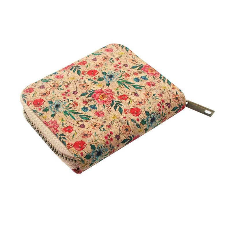Veggees Geldbörse »Veggees Mini Florina - Kork Geldbörse für Damen klein mit RFID Schutz - Vegane Wallet aus Korkleder - Geldbeutel, Portemonnaie mit Blumenmuster«, Vegan, Zero Waste, RFID-Schutz