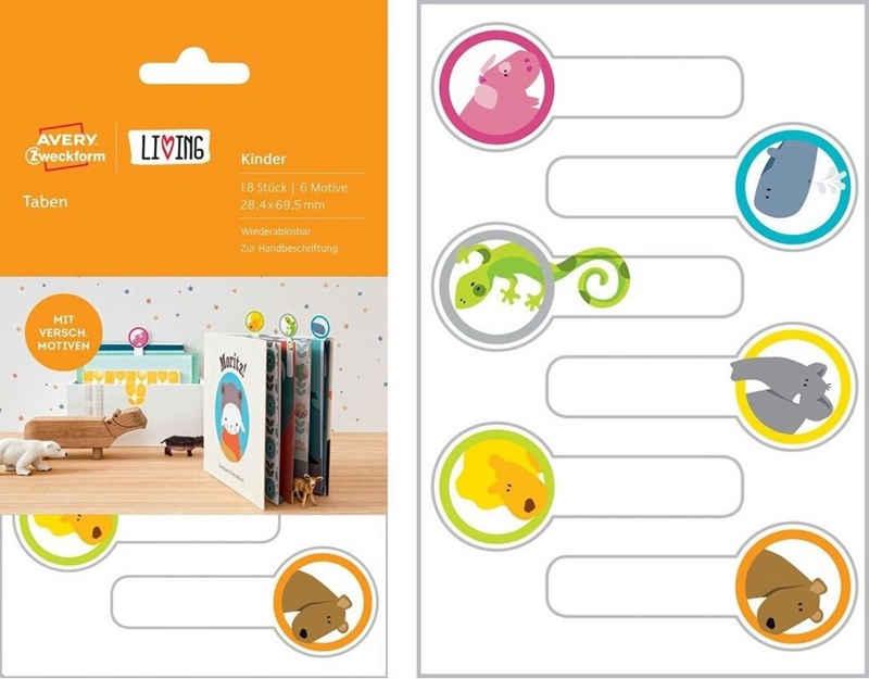 Avery Zweckform Etikettenpapier »Avery Zweckform 18x Bunte Taben Buch-Etiketten Lesezeichen Sticker Hefte Kinder-Bücher Schule«