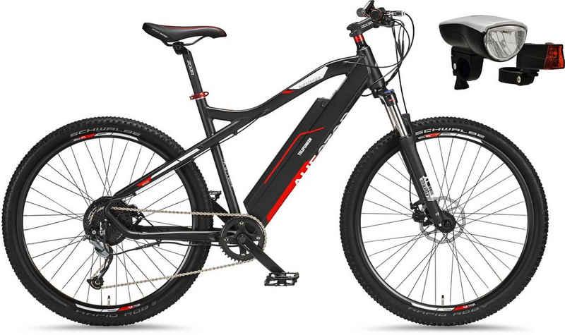 Telefunken E-Bike »Aufsteiger M920«, 9 Gang Shimano Acera Schaltwerk, Kettenschaltung, Heckmotor 250 W, (mit Beleuchtungsset)