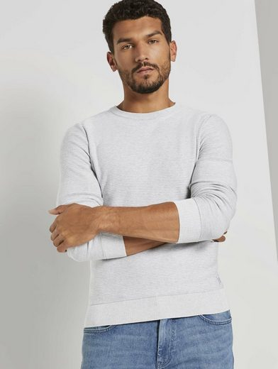 TOM TAILOR Strickpullover »Basic Pullover mit Streifenstruktur«