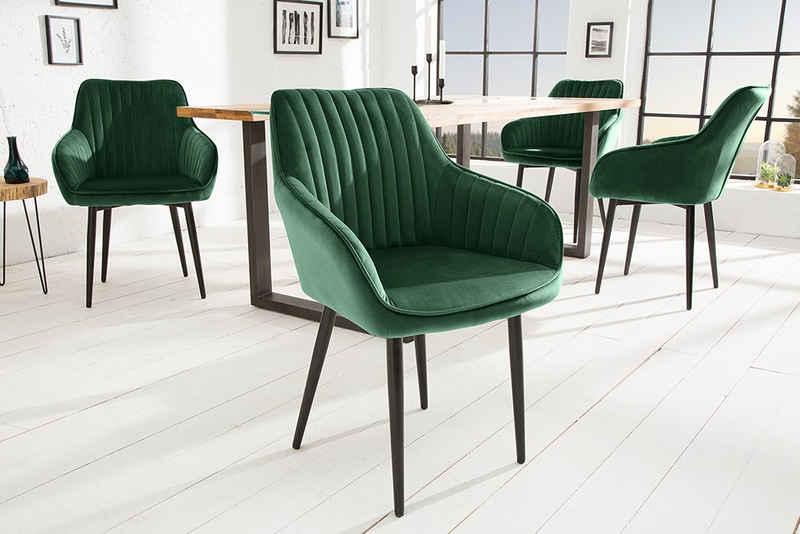 riess-ambiente Polsterstuhl »TURIN smaragdgrün / schwarz« (1 Stück), Samt · mit Armlehne · Esszimmer · Retro Design
