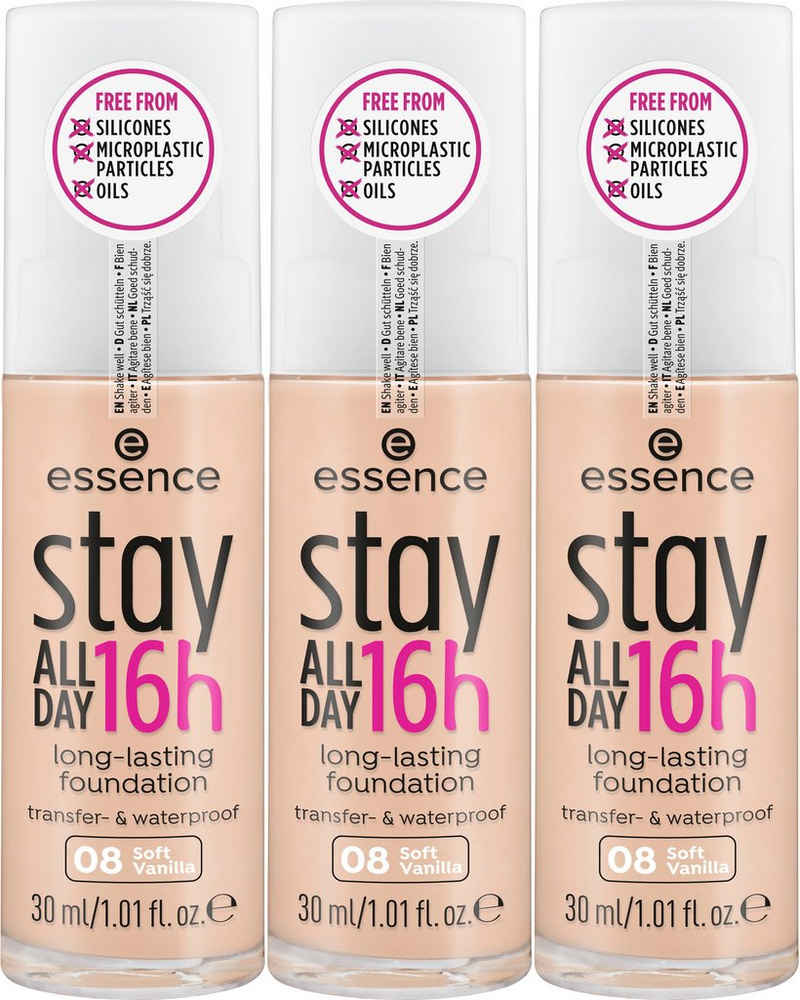 Essence Foundation »stay ALL DAY 16h long-lasting«, 3-tlg.
