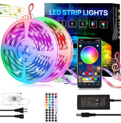 Oneid LED Lichtleiste »1 Meter 12LED, Gesamtlänge 30M LED Strip Bluetooth, RGB LED Streifen Lichtleiste RGB 5050 litchband Selbstklebend LED Stripes mit 44 Tasten IR-Fernbedienung APP Steuerbar Musikmodus Für zu Dekorative und Beleuchtung«