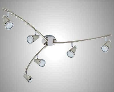 TRANGO LED Deckenstrahler, 6-flammig 2992-62SD LED Deckenleuchte *CHARLIE* in Nickel matt & Chrom incl. 6x 5 W 3-Stufen dimmbaren GU10 LED Leuchtmittel I Deckenlampe I Deckenstrahler I Deckenspots I Wohnzimmer Lampe schwenkbar und drehbar