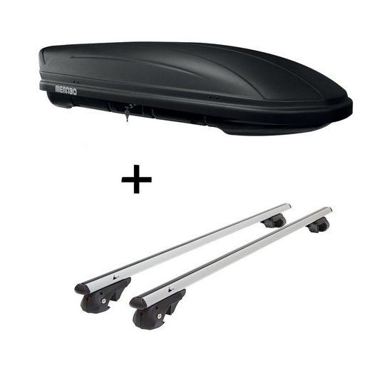 VDP Fahrradträger, Dachbox MAA 400 Liter matt + Relingträger VDP004 XL kompatibel mit Ford Galaxy 2000-2010