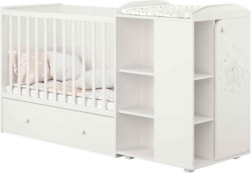 POLINI kids Babybett »French 800 Teddy, weiß-eiche«, mit Bettschubkasten und Wickelstation; umbaubar zu Juniorbett und Kommode