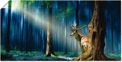 Artland Wandbild »Der Hirsch im mystischen Wald«, Wildtiere (1 Stück), in vielen Größen & Produktarten -Leinwandbild, Poster, Wandaufkleber / Wandtattoo auch für Badezimmer geeignet