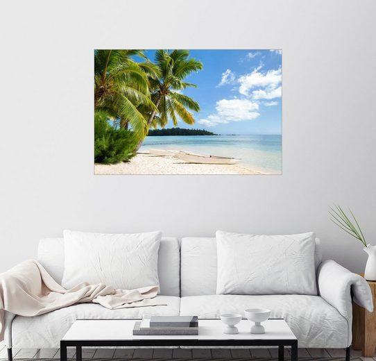Posterlounge Wandbild, Strand mit Palmen und türkisblauem Meer auf Tahiti