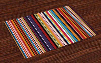 Platzset, »Waschbare Stoff Esszimmer Küche Tischdekorations Digitaldruck«, Abakuhaus, (4-teilig, 4 Teilig-St., Set aus 4x), Abstrakt Leuchtende Farben Gestreifte