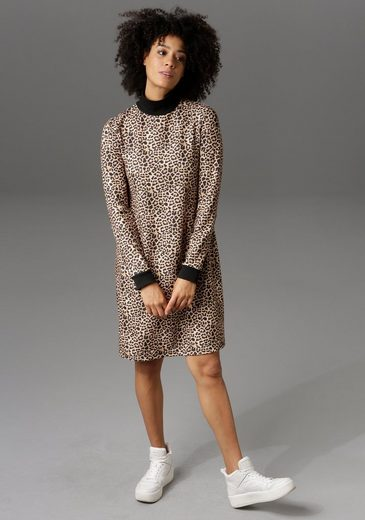 Aniston CASUAL Jerseykleid mit trendigem Leo-Print - NEUE KOLLEKTION
