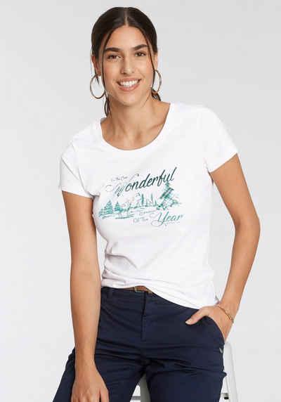 TOM TAILOR Polo Team T-Shirt mit weihnachtlichem Print - NEUE KOLLEKTION