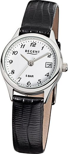 Regent Quarzuhr »D2URF326 Regent Leder Damen Uhr F-326 Quarzuhr«, (Quarzuhr), Damenuhr mit Lederarmband, rundes Gehäuse, klein (ca. 25mm), Elegant-Style