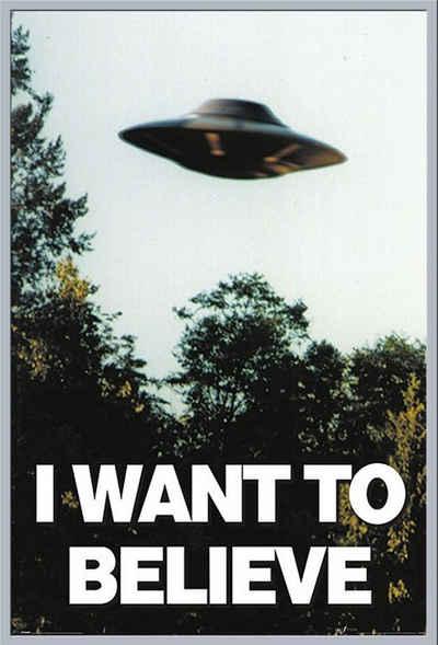 empireposter Poster »X-files - I Want To Believe Poster«, + Wechselrahmen Shinsuke® Maxi 61x91,5 Kunststoff silber, Acryl-Scheibe