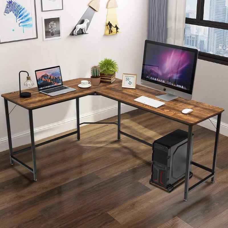 COSTWAY Eckschreibtisch »Computertisch Schreibtisch Bürotisch«, L-Form