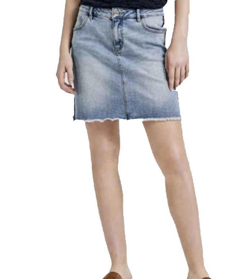 OPUS Jeansrock »OPUS Rundini Jeans-Rock luftiger Mini-Rock Sommer-Rock für Damen mit Fransensaum und Kontraststreifen Blau«