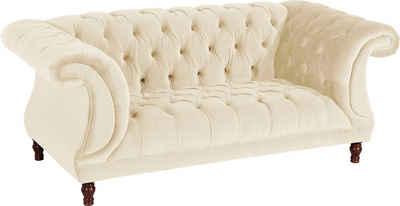 Max Winzer® Chesterfield-Sofa »Isabelle«, mit edler Knopfheftung & gedrechselten Füßen in Buche Nussbaum, Breite 200 cm