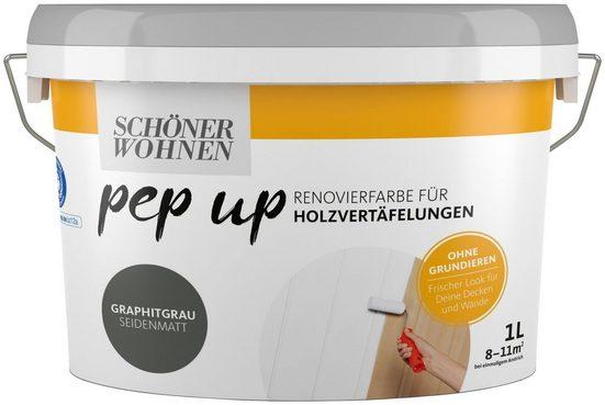 SCHÖNER WOHNEN FARBE Renovierfarbe »pep up - graphitgrau«, seidenmatt, für Holzvertäfelungen 1 l