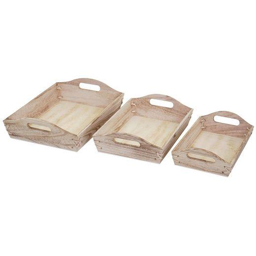 MCW Tablett »MCW-C50«, Paulowniaholz, (Set, 3er), 3x Tablett in drei verschiedene Größen, Ineinander stapelbar