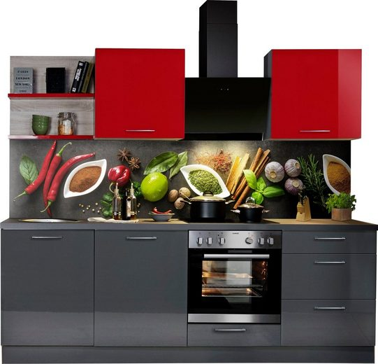 Express Küchen Küchenzeile »Jena«, ohne E-Geräte, vormontiert, mit Soft-Close-Funktion, Stellbreite 240 cm
