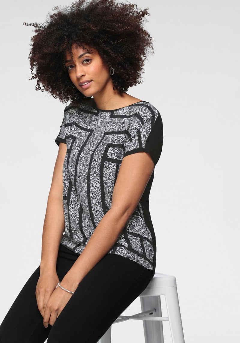 GERRY WEBER Shirtbluse im Materialmix mit Paisley-Frontdruck