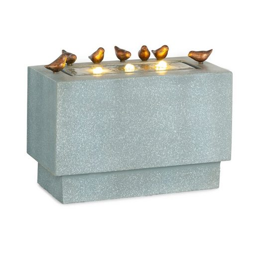 blumfeldt Gartenbrunnen »Waterbirds Gartenbrunnen LED 60 x 47 x 30 cm Zement Aluminium grau«, 60 cm Breite