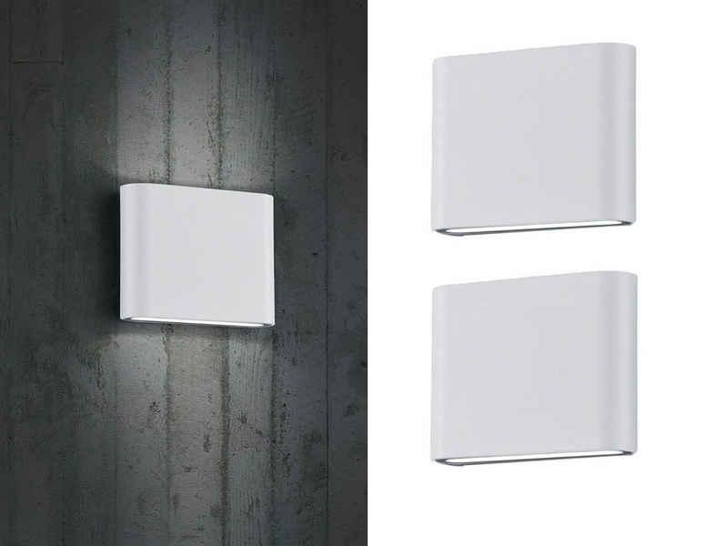 meineWunschleuchte LED Außen-Wandleuchte, 2-er Set Fassaden-Beleuchtung für Haus-Wand up and down, Weiß, Terrasse, Hausbeleuchtung, Außen-Wandlampe, Außen-Lampe, Außen-Leuchte draußen