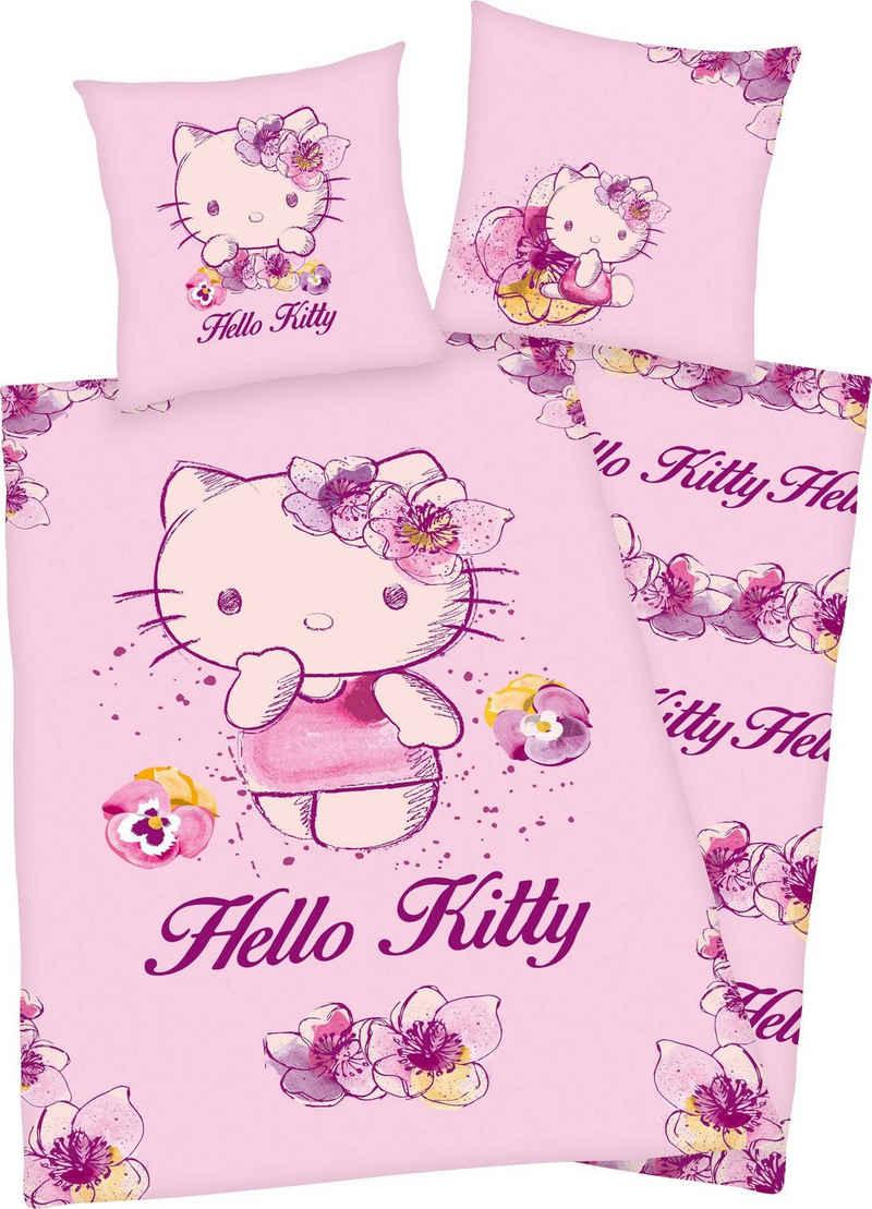 Kinderbettwäsche »Hello Kitty«, Hello Kitty, mit niedlichem Hello Kitty Motiv