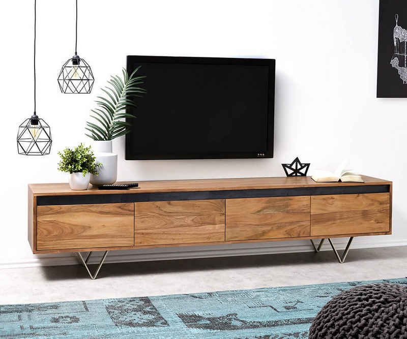 DELIFE TV-Board »Stonegrace«, Akazie Natur Schiefer 200 cm 4 Schübe Designer Lowboard