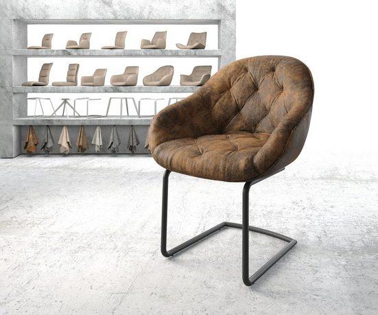 DELIFE Esszimmerstuhl »Gaio-Flex« Freischwinger rund schwarz Vintage Braun