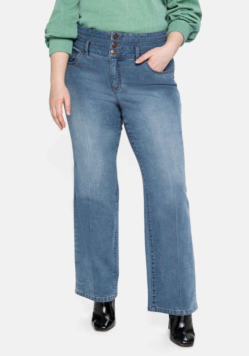 Sheego Stretch-Jeans mit High-Waist-Bund und Bügelfalte
