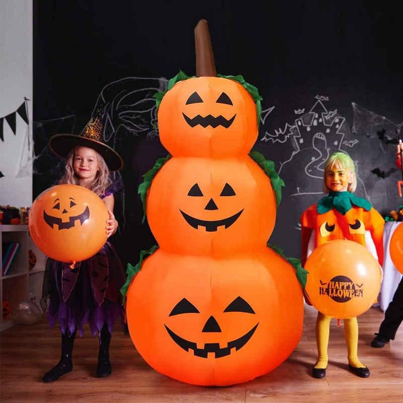 COSTWAY Dekofigur »180cm Aufblasbarer Halloween Kürbis«, 3 Stapel Kürbis mit LED-Innenbeleuchtung
